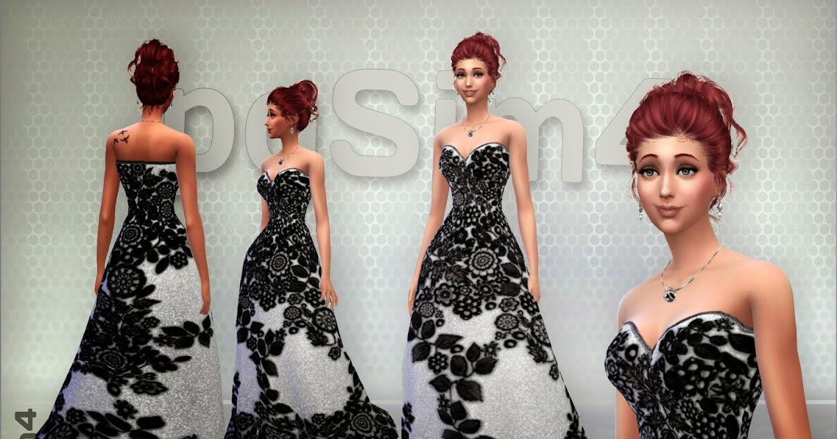 sims 4. vestidos largos de encaje.