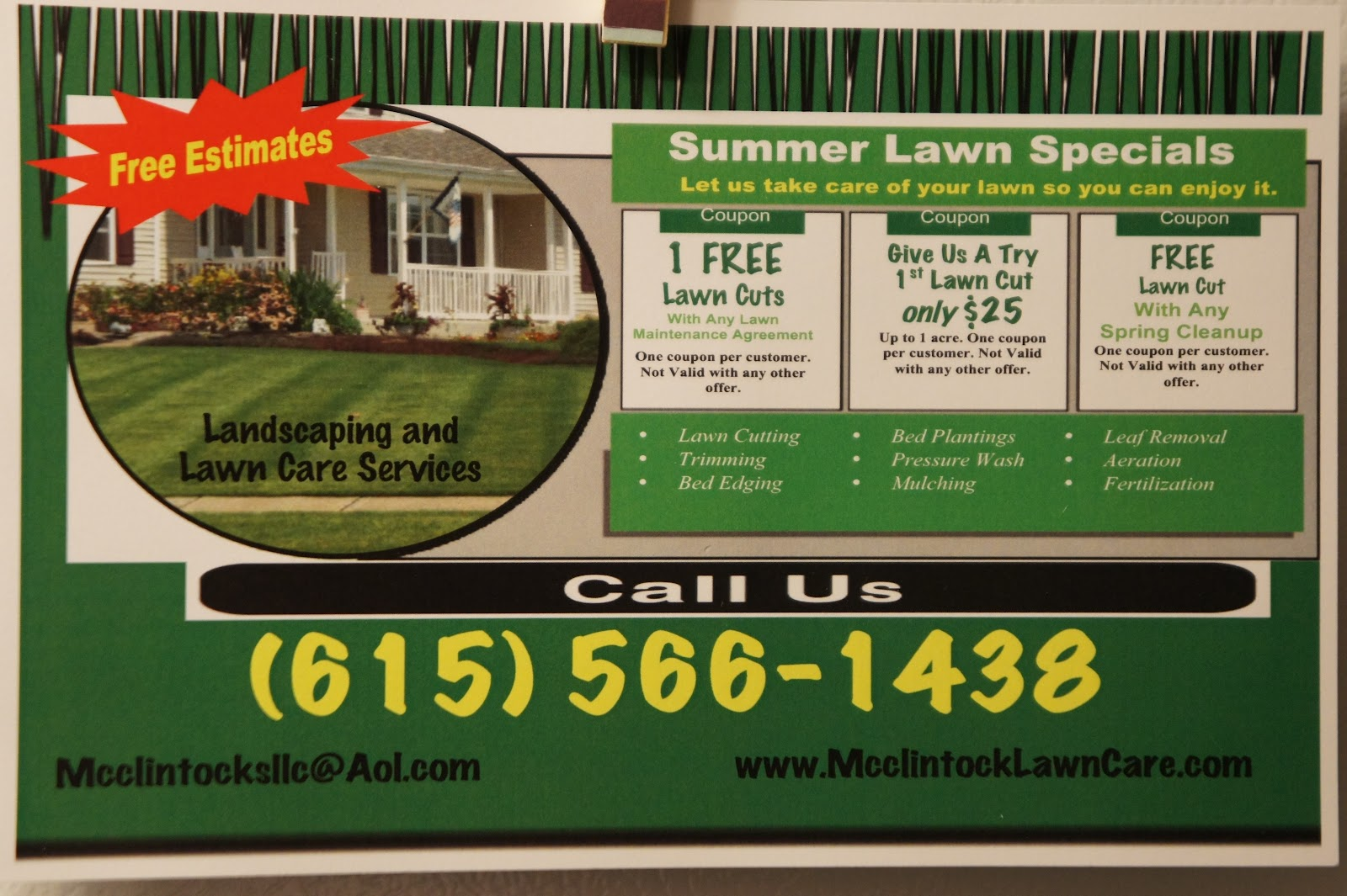 Lawn care business cards templates free free resume for Lawn treatment service
