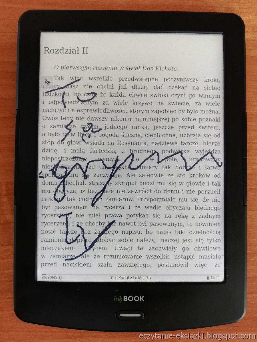 PocketBook Reader na InkBOOK LUMOS umożliwia dodawanie odręcznych notatek