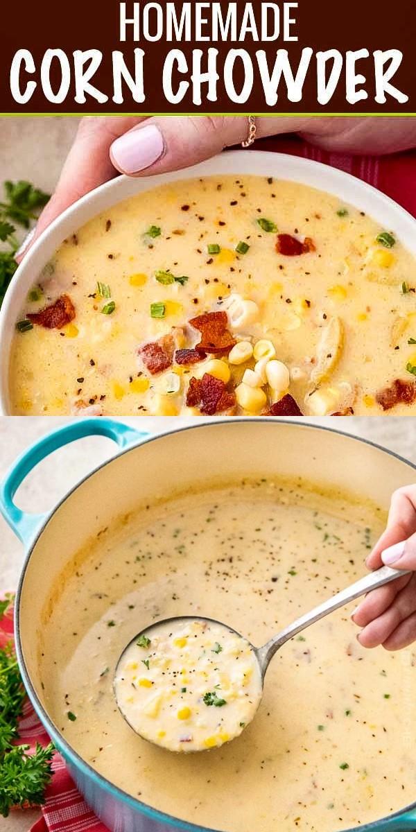 HEARTY HOMEMADE CORN CHOWDER #souprecipes