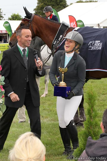 L-R: Warrick Allen, premier arena MC, interviewing Olivia Robertson on Ngahiwi Cisco, winner, Norwood Gold Cup 1.45m, in the Land Rover Premier Arena, Horse of the Year at the Hawke's Bay Showgrounds, Hastings. photograph