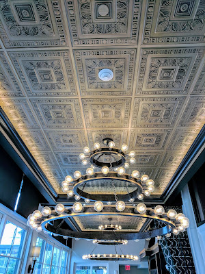 Architecture Buffalo: Chandelier in the Art Deco dining room at the Curtiss Hotel in Downtown Buffalo New York