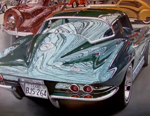 02-67-Sting-Ray-Cheryl-Kelley-Chrome-Muscle-Cars-Hyper-realistic-Paintings-www-designstack-co
