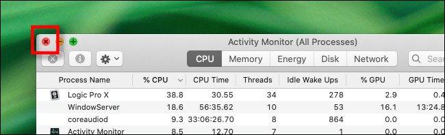 أغلق نافذة مراقب النشاط على جهاز Mac.