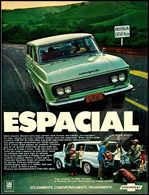 Anúncio da Chevrolet veiculado em 1970 apresentando três modelos de peruas