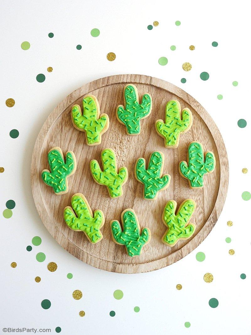 Recette Cookies Sablés au Format de Cactus - recette facile pour une fête estivale ou une goûter d'anniversaire de lama! by BirdsParty.com @birdsparty #cactus #sablescactus #cookies #cokiescactus #recette