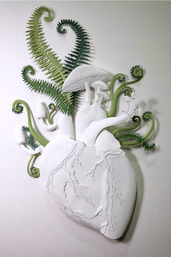 anatomical heart with foliage paper sculpture