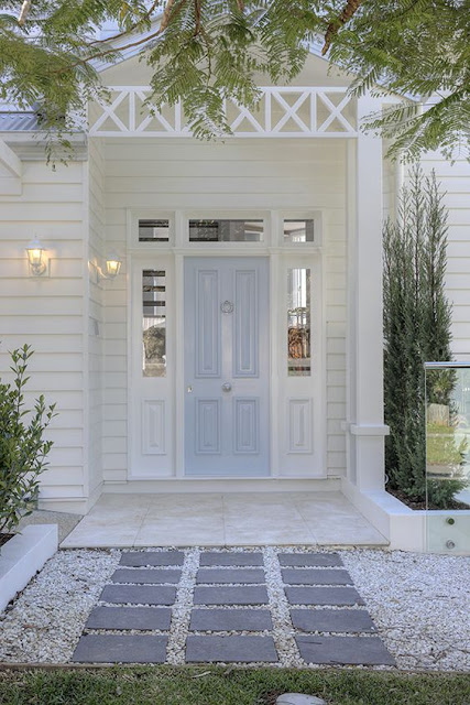 Beautiful pale blue front door.