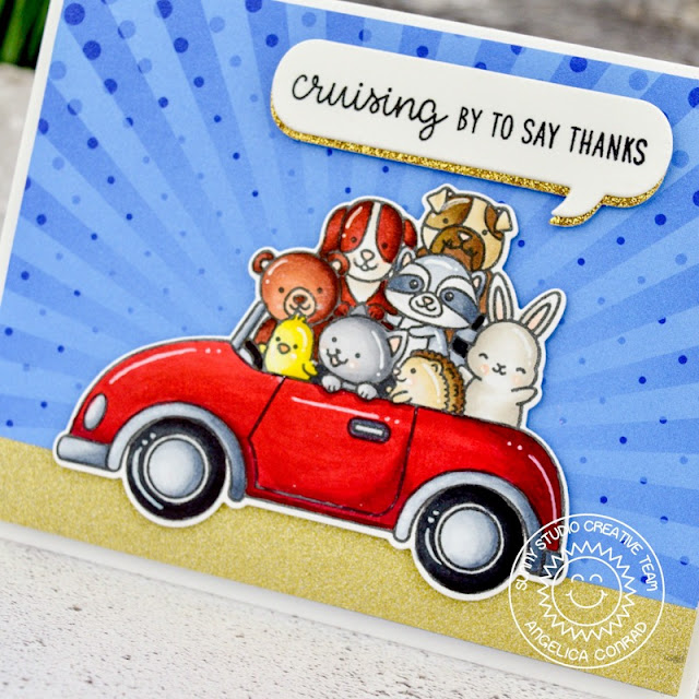 Sunny Studio Stamps: Cruising Critters Comic Strip Speech Bubble Dies Hello Card by Angelica Conrad