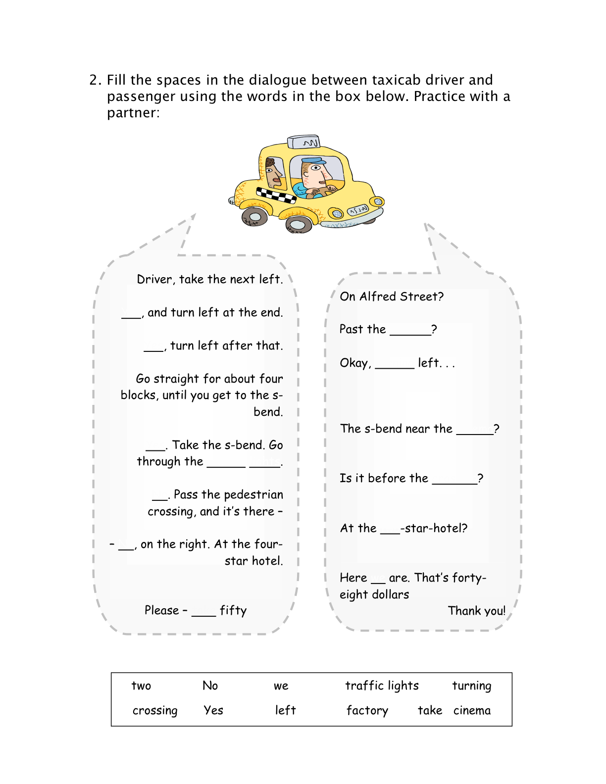 Lesson Giving Directions In A Taxicab