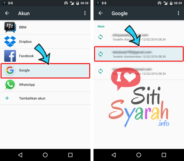 cara menghapus email android