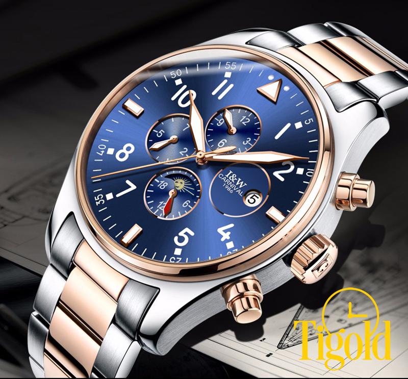 đồng hồ cơ nam mặt xanh