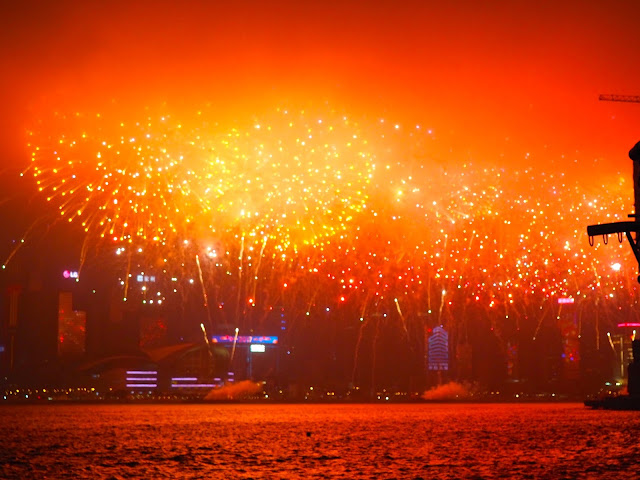 Chinese New Year fireworks over Victoria Harbour, Hong Kong, 2017