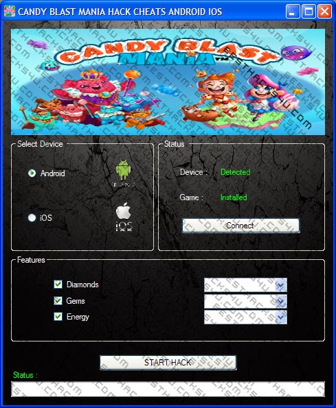 Candy Blast Mania Hack Cheat Android / iOS ~ App Hack