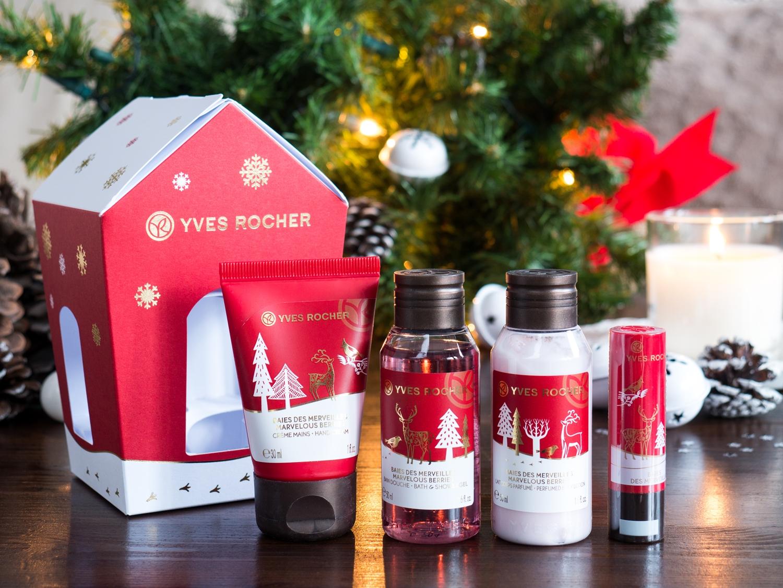 Yves Rocher kolekcja świąteczna owoce leśne oraz wanilia i bergamotka domek