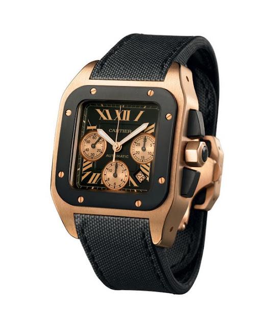 No alto, relógio Cartier Santos 100 Carbon Cronógrafo Titânio em aço e ouro  rosa, com cristal de safira e pulseira de lona. Abaixo, o Breitling  Chronomat 01 ... 0b3e239758