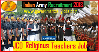 Indian Army Recruitment 2018 of 96 JCO (Religious Teacher) Posts