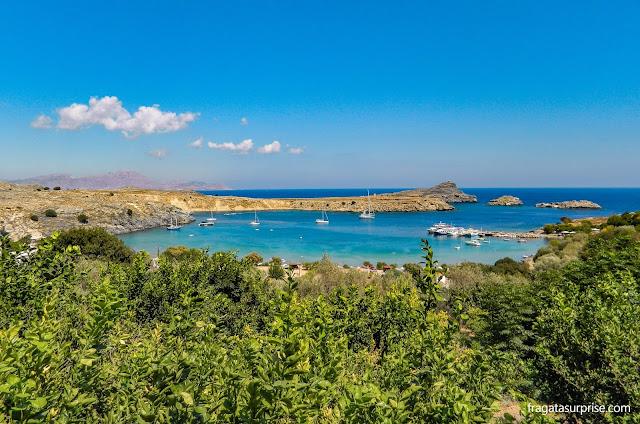 Praia de Lindos, Ilha de Rodes, Grécia