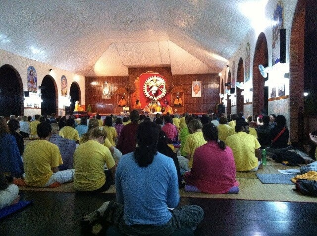Evening satsang at the ashram