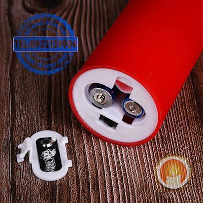 Nến điện tử màu đỏ tim lắc pin lâu