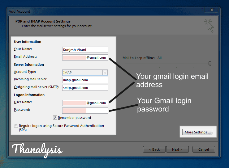 IMAP account settings details to set up Outlook account