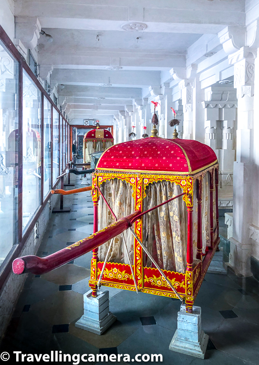 Above photograph shows the section with palanquins used by royal family of Mewar. Apart from these complete palanquins, there is another collection of cloths used in these palanquins. Take a moment to browse the exhibits in the palace museum including priceless artwork and displays of swords/armor.