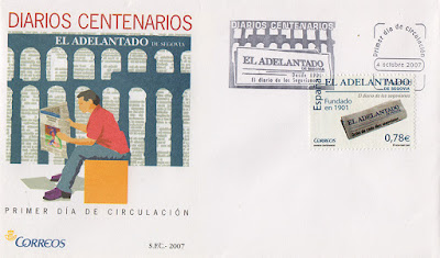 filatelia, sello, matasellos, PDC, Adelantado, Segovia, diario, periódico