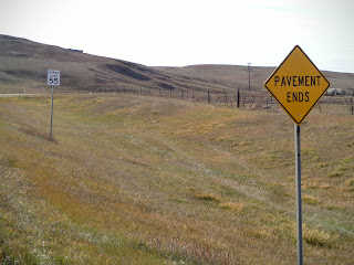 the pavement ends in many places in North Dakota