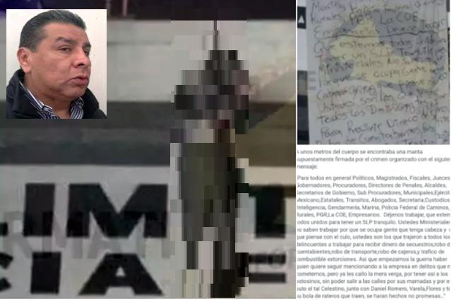 """""""COLGADO y NARCOMANTA"""",CRIMINALES DEL CDN """"EMBARRAN"""" a CASTILLO CELESTINO y DECLARAN la GUERRA en S.L.P"""