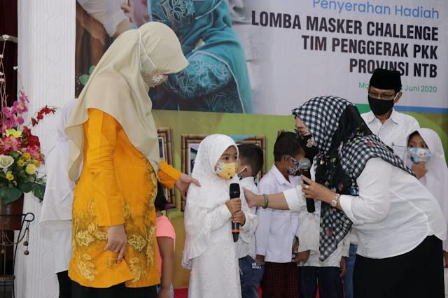 Bunda Niken Umumkan dan Serahkan Hadiah Masker Challenge TP-PKK NTB