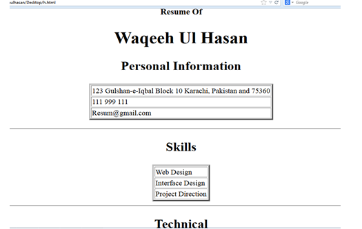 html resume page created by waqeeh