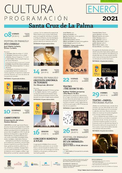 Programa cultural de enero 2021 - Santa Cruz de La Palma
