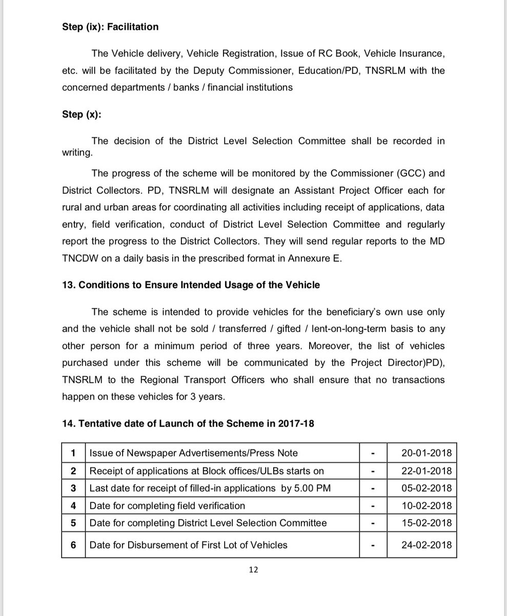 Guidelines for Amma Two Wheeler Scheme for working women Tamil Nadu Government