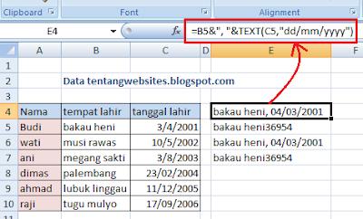 Cara menggabungkan kolom tempat dan tanggal lahir pada excel