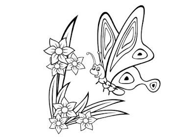 Gambar sketsa kupu kupu dan bunga