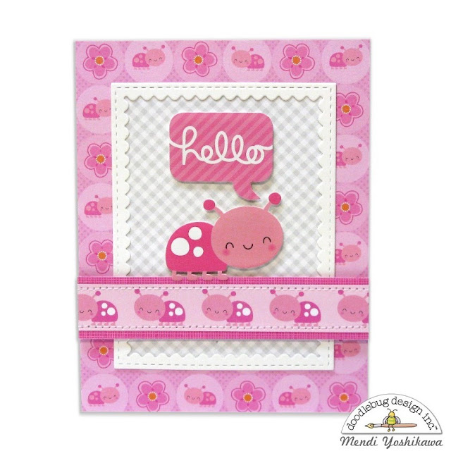Doodlebug Design Spring Things Ladybug Hello Card by Mendi Yoshikawa