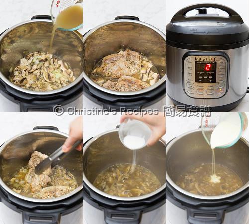 忌廉蘑菇豬扒製作圖 Pork Chops with Creamy Mushroom Sauce Instant Pot Procedures02