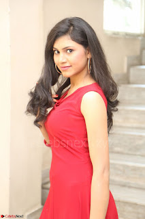 Mounika Telugu Actress in Red Sleeveless Dress Black Boots Spicy Pics 070.JPG