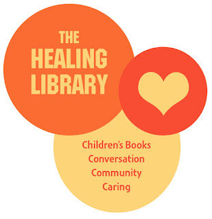 Orange logo, 3 interlocking circles with a heart in one circle and text in the other 2 circleswith text that says:  The Healing Library:  Children's Books, Conversation, Community, Caring.