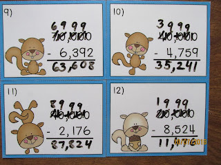 Squirrels Subtracting Across Zeroes Task Cards