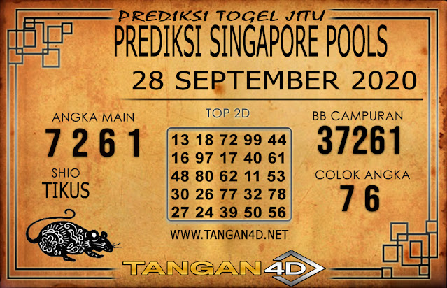 PREDIKSI TOGEL SINGAPORE TANGAN4D 28 SEPTEMBER 2020