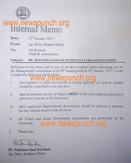 Buhari's Home State, Katsina Varsity Islamize Institution, Bans Christian Groups, Okays Muslim Society; See Raw Copy Of Memo
