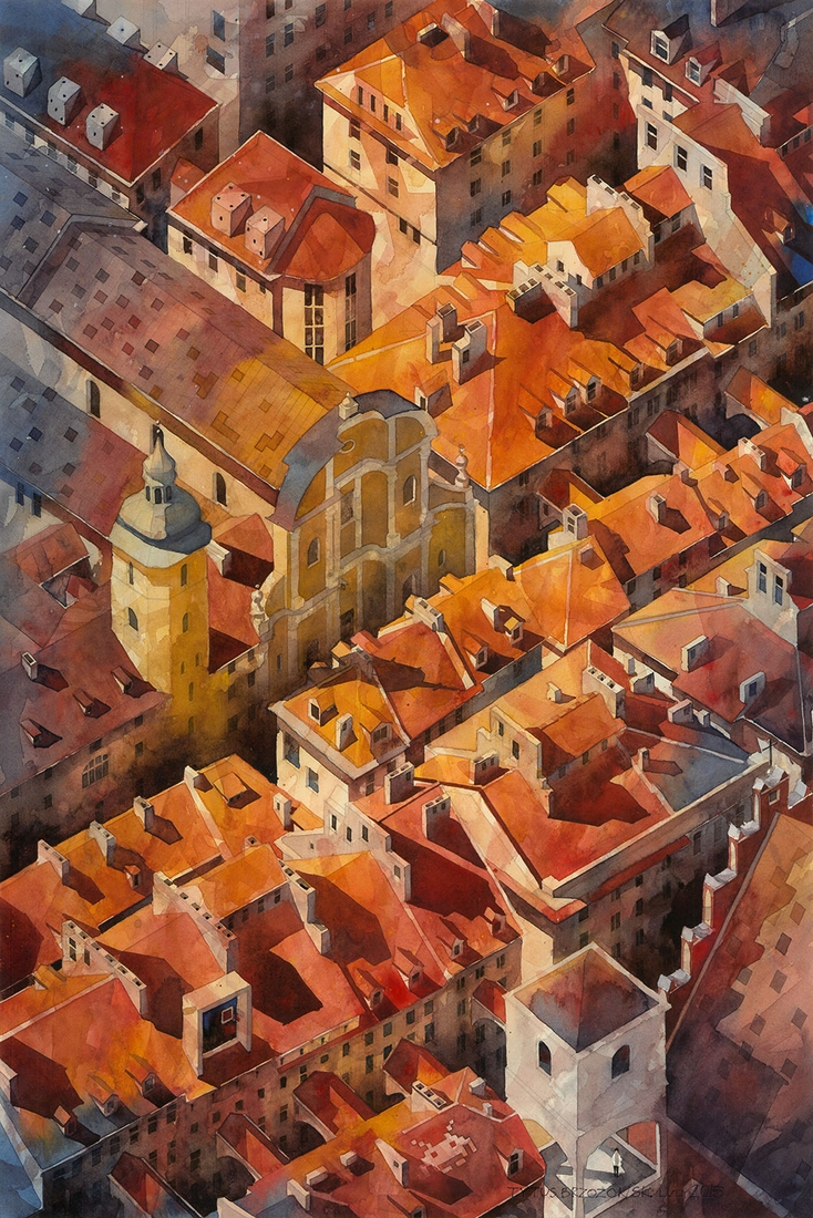 11-Old-Town-02-Tytus-Brzozowski-Architecture-Meets-Watercolors-Paintings-in-Warsaw-www-designstack-co