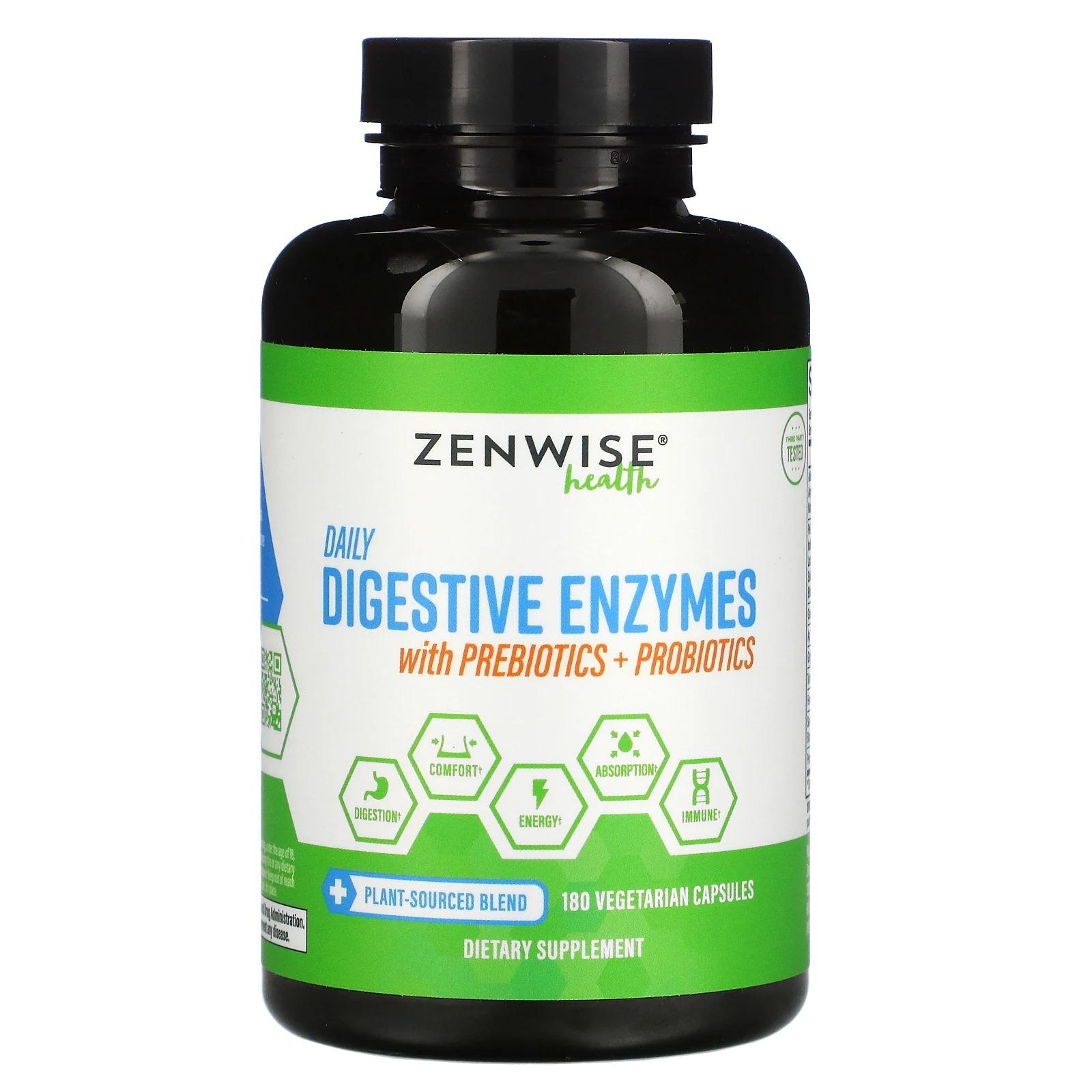 Zenwise Health, ежедневные пищеварительные ферменты с пребиотиками и пробиотиками, 180 растительных капсул