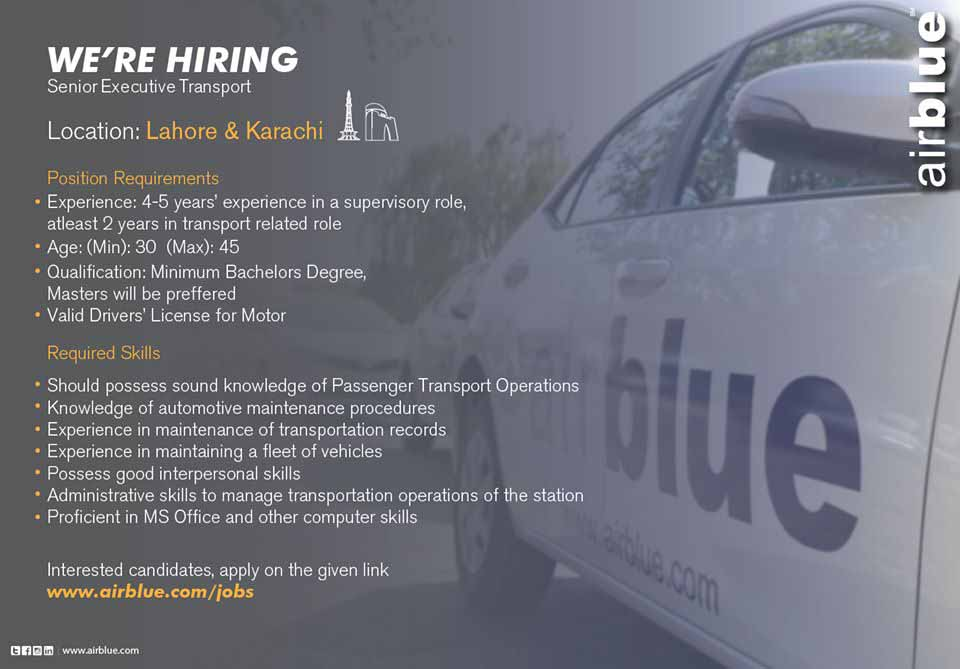 Jobs in Air Blue Airline Pakistan December 2019