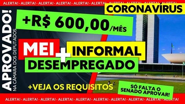 Senado deve votar na segunda pagamento de auxílio emergencial de R$600