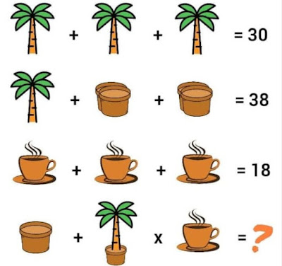 Coconut Tree Pot Tea Cup Math Puzzle