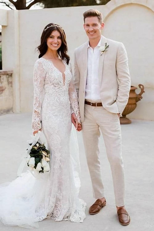 beautiful couple in wedding attire