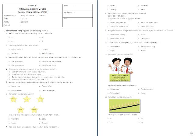 Soal Penilaian Akhir Semester (PAS) Kelas 1 SD/MI: Tema 8