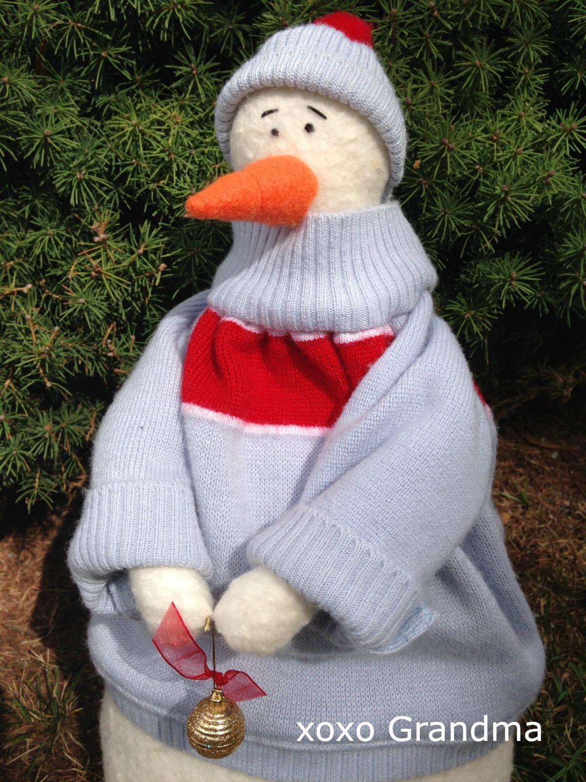 Xoxo Grandma Making Snowmen From Scraps
